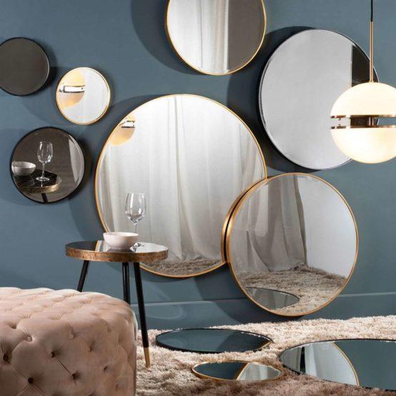 Grote Ronde Spiegel Met Zwart Metalen Frame O 116cm
