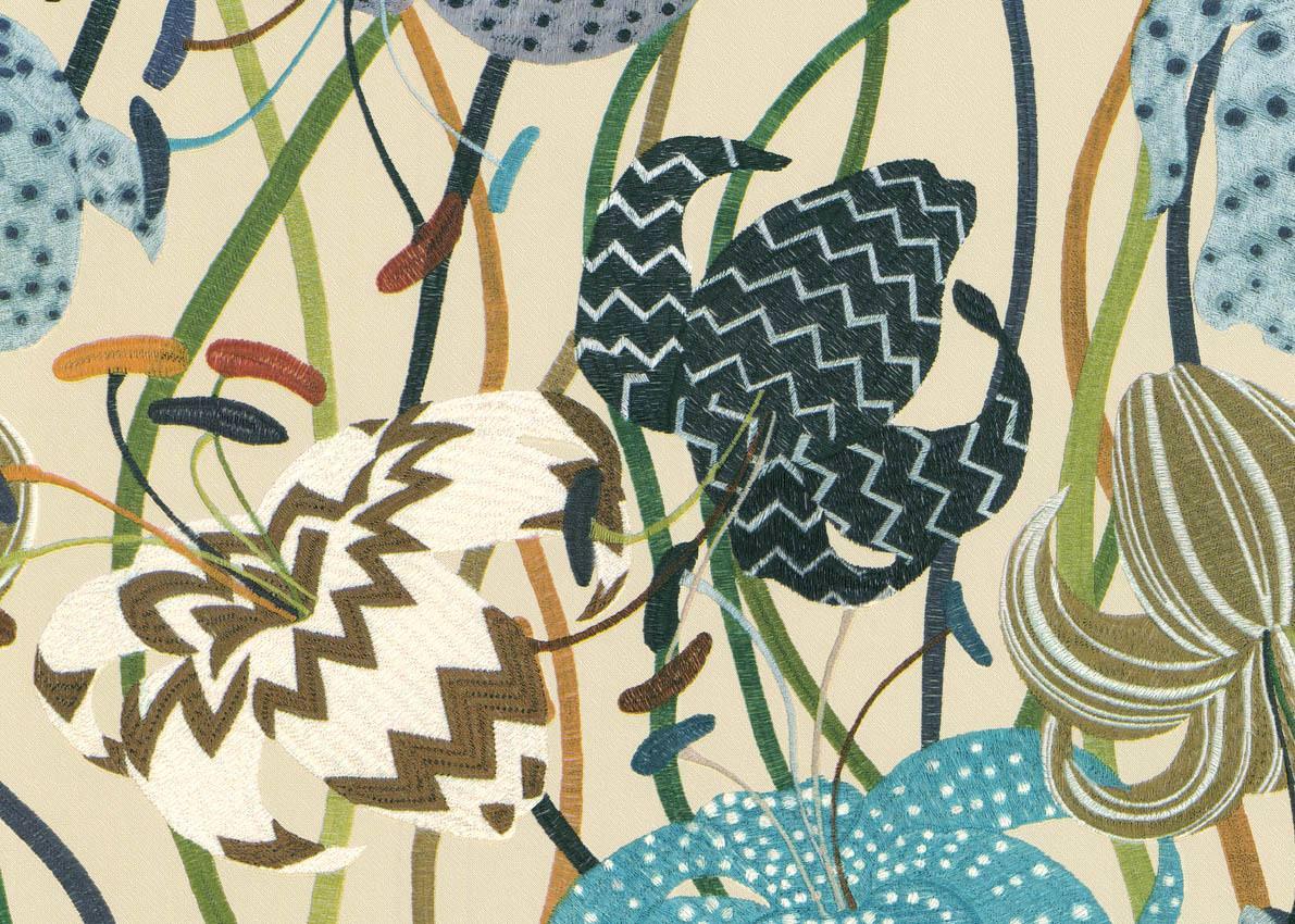 Smita Tapete Missoni M1A10015 Flowers Material Optics Embroidered