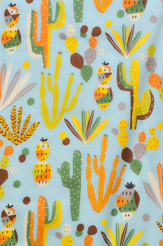 Tela estampada de cactus nopales|Tela estampada de cactus nopales|Tela de cactus azul|Tela estampada de cactus nopales|
