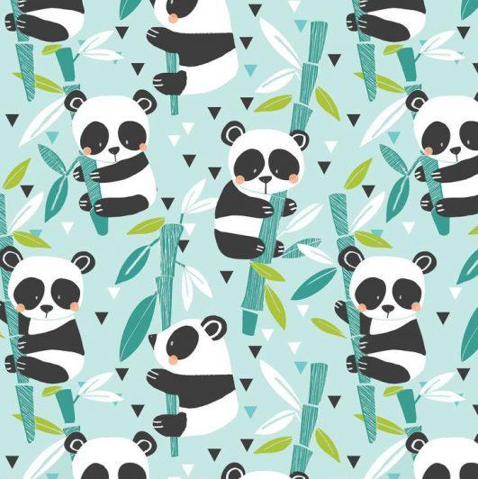 """Tela de osos panda """"Bamboo Blue"""" de algodón"""