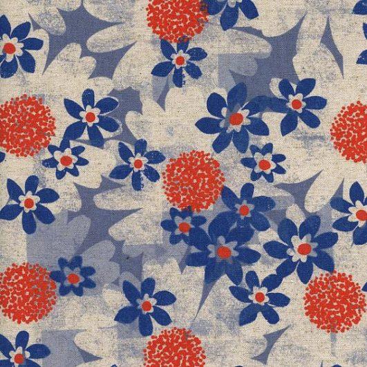 """Daisy fields"" blue fabric - cotton + steel"