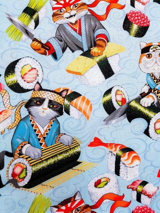Estampado de gatos cocinando suhi