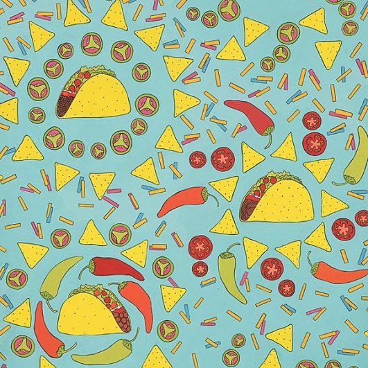 Estampado de tacos y nachos y chiles texmex