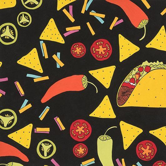 Estampado de Tacos, chile, guacamole, nachos