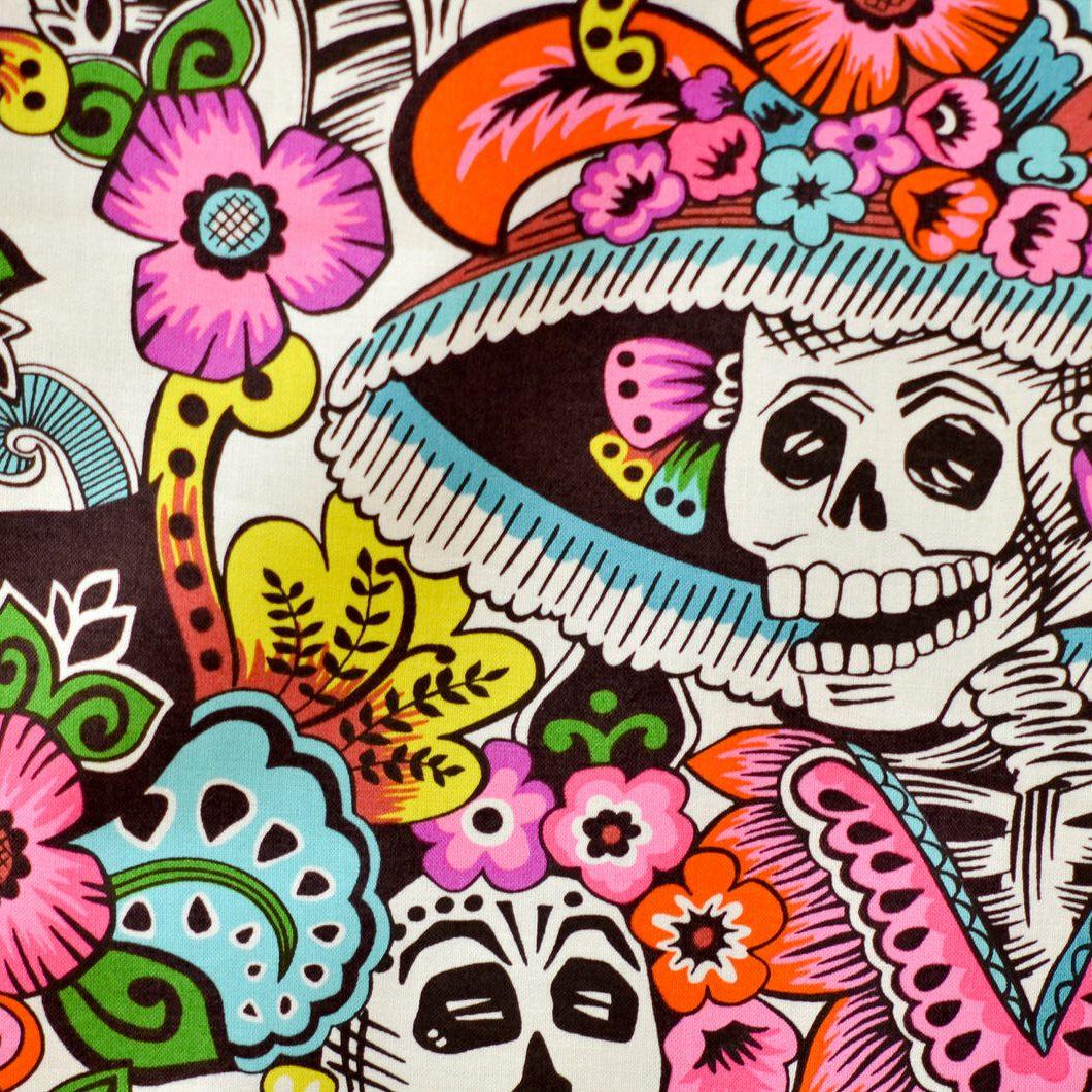 Tela de calaveras mexicanas (catrinas)