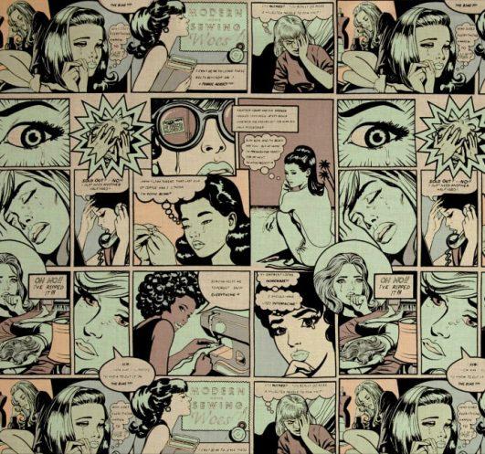 "Tela de comic vintage ""Sewing Sorrows"""
