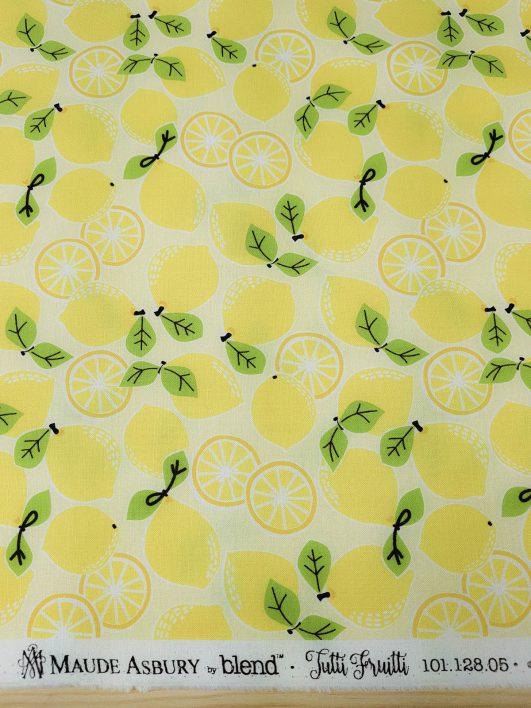 tela con estampado de limones