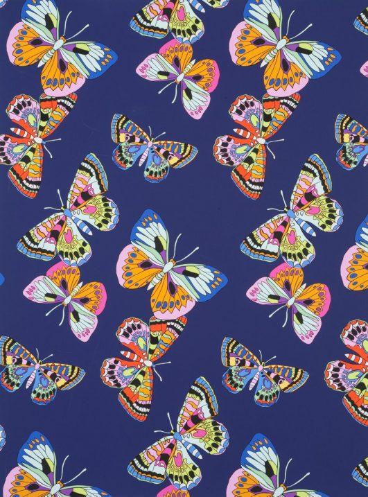 """Tela estampadas de mariposas """"Marilia"""" con fondo morado"""
