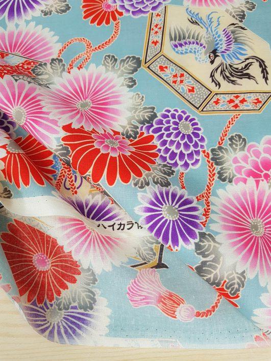 "Tela japonesa de ""Chiyogami"" rosa diseño de Kokka"