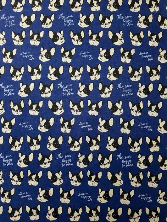 loneta de bulldogs con fondo azul