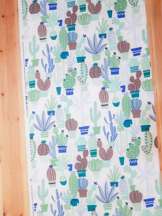 Tela de cactus en verde y azul