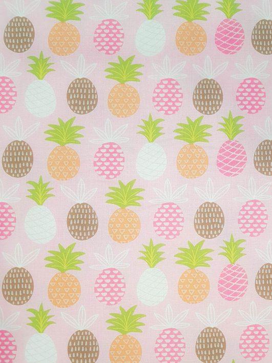 Tela de piñas rosa tropical infantil