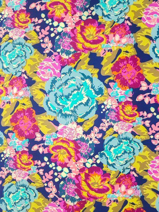 "Tejido punto jersey estampado de flores ""Acqua Di Rosa"" estilo boho"
