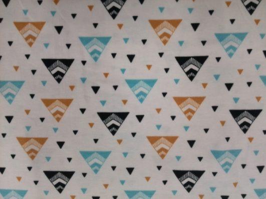 tejido jersey de estampado geométrico de triángulos de Bloome Copenhagen