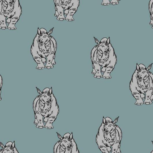 Tejido punto camiseta azul estampada con rinocerontes en algodón orgánico