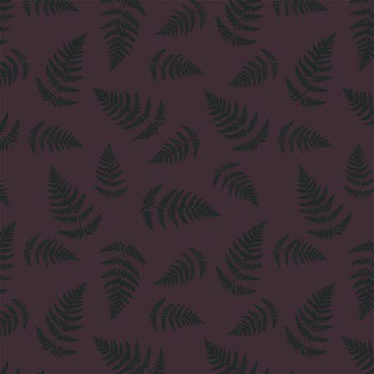 Tejido punto camiseta violeta con hojas estampadas en algodón orgánico
