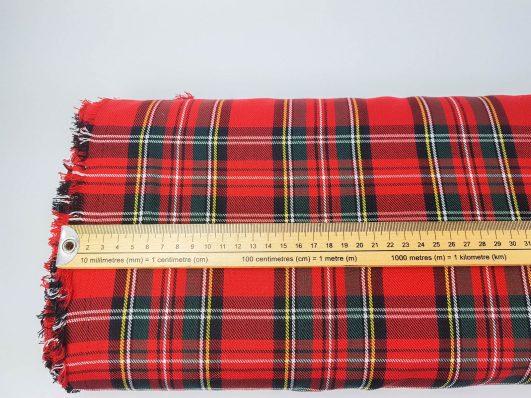 Tela de cuadros escoceses en paño rojo
