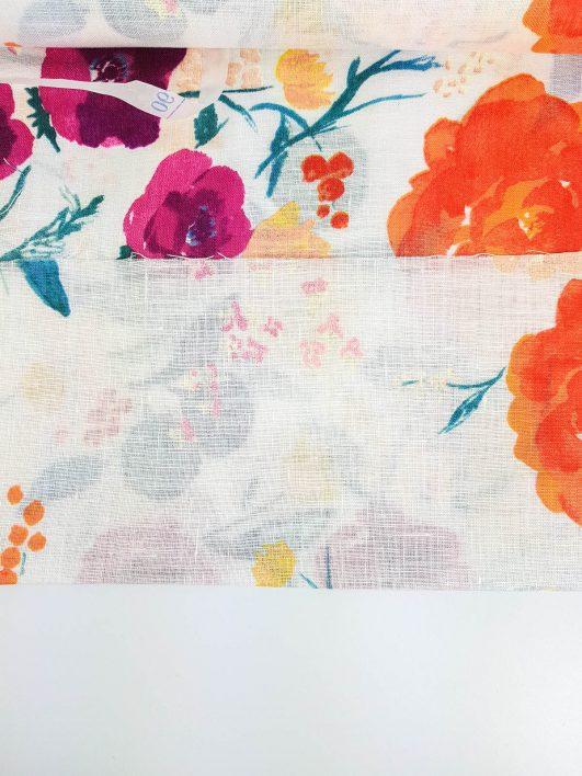 Tela japonesa de lino 100% con flores de acuarela diseño de Nani Iro