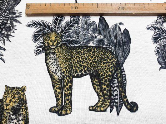 """Estampado de leopardos de estilo """"wild jungle"""". Tejido half panamá"""