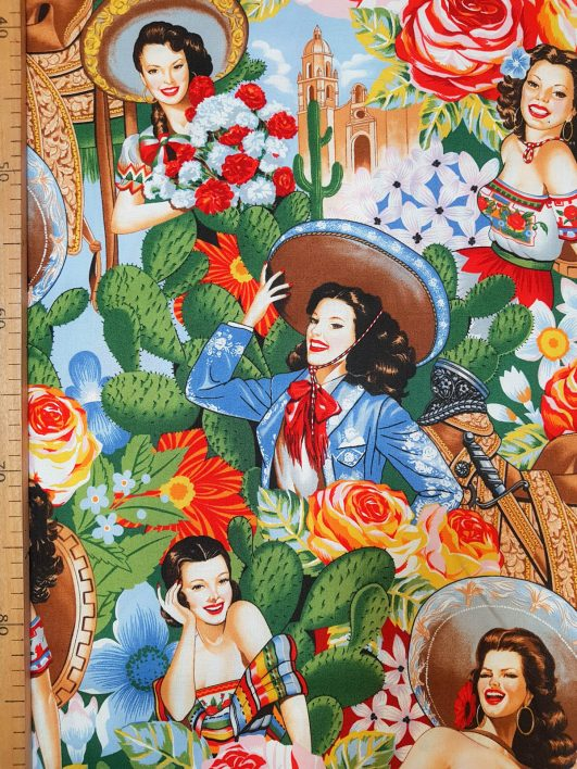 """Estampado mexicano """"Las Señoritas"""" diseño de Alexander Henry Fabrics"""