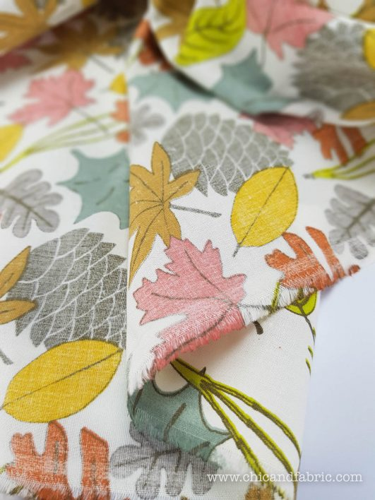 popelín ecológico de algodón orgánico estampado cpn hojas diseño de Birch Fabrics
