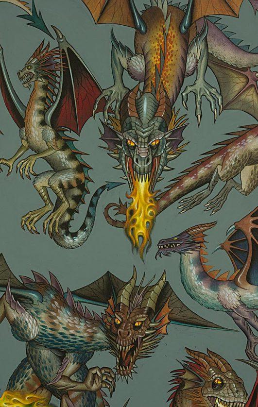 Tela de dragones estampada