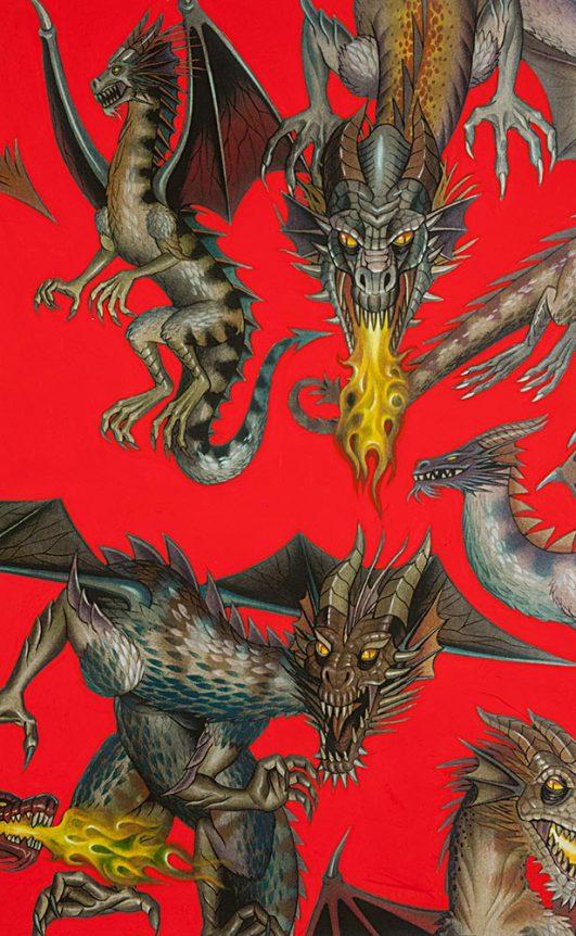 Tela de dragones estampados de Juego de Tronos