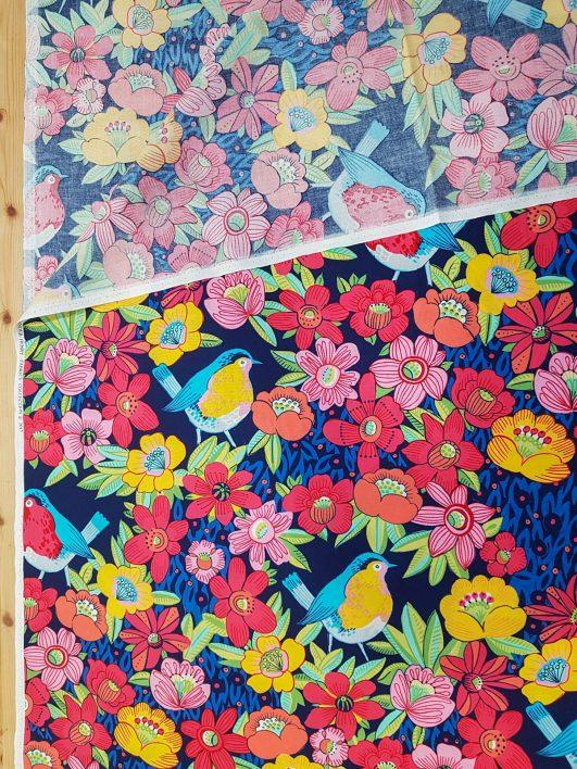 Estampado de Gorriones y Flores