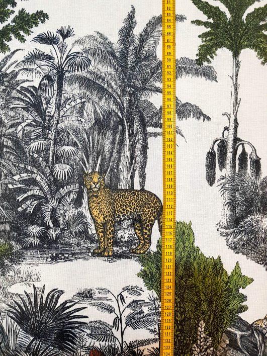 Stampa di animali selvatici nella giungla, tela mezza panama per tappezzeria