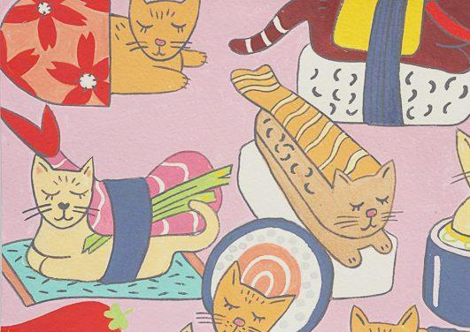 "Gatos en el sushi ""Kitty Rolls"" en rosa de Alexander Henry"