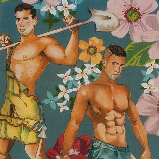 Tela estampada de jardineros sexys