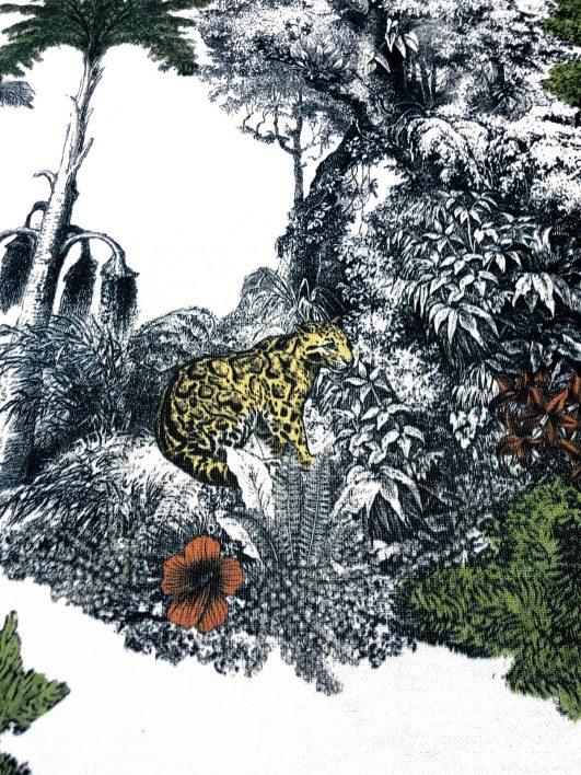 Tela tropicale stampata con leopardi e vegetazione in tessuto mezzo panama