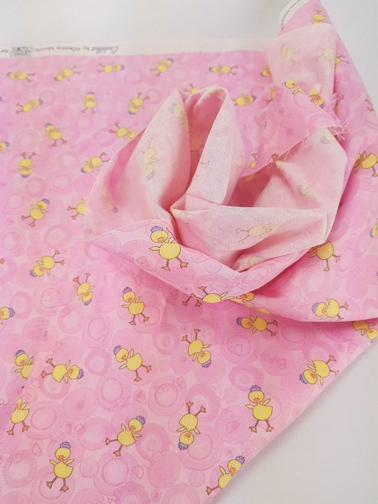 Estampado de patos infantil rosa, tejido 100% algodón