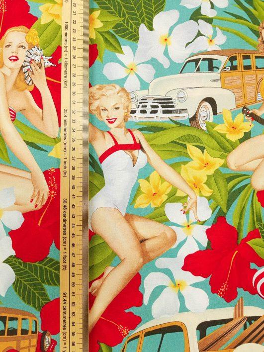 "Tela de pin ups ""Aloha Girls"" con fondo menta de Alexander Henry tejido 100% algodón"