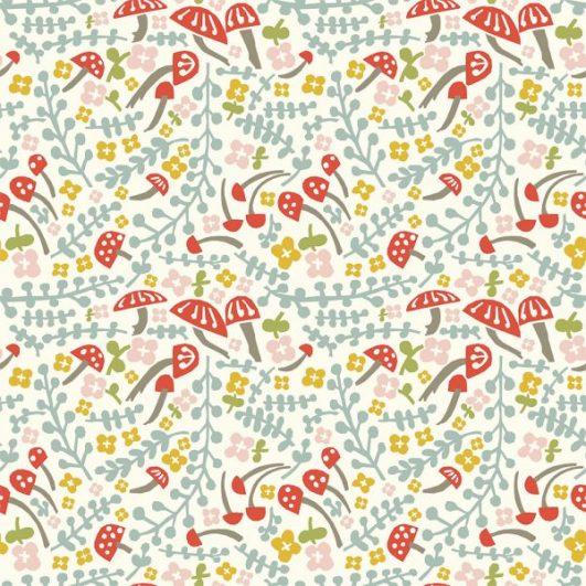 Popelín ecológico de setas, hojas y flores