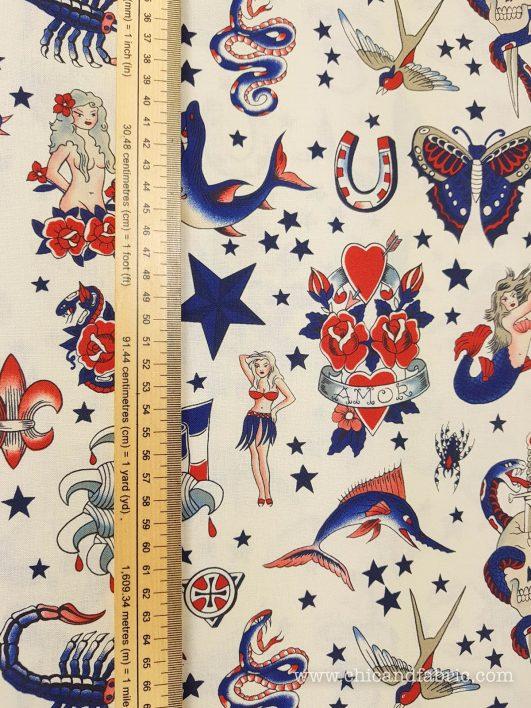 Tissu avec des tatouages vintage Tatouage vierge d'Alexander Henry