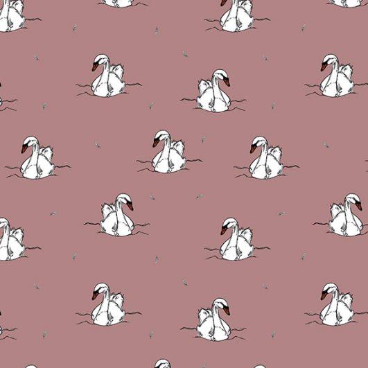 Punto Jersey Orgánico Estampado de cisnes
