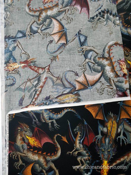 Tela estampada de dragones