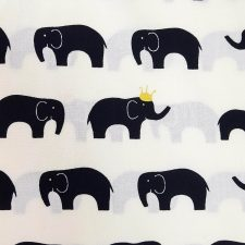Popelín ecológico de elefantes en negro e hilo metálico de Birch Fabrics