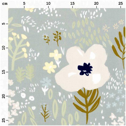 Tela de flores en tonos fríos, fondo gris verdoso y detalles en dorado