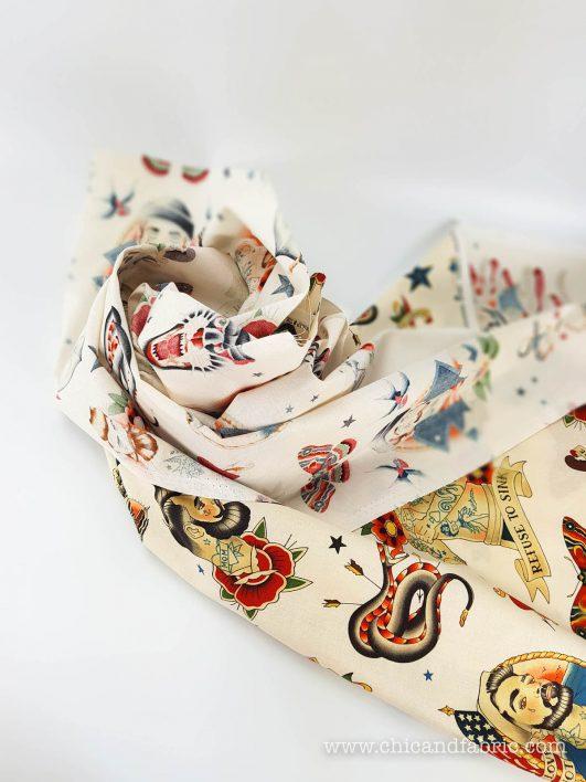"Tissu blanc Alexander Henry ""jette l'ancre"""