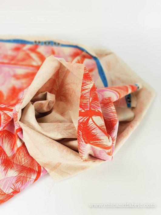 Tela con stampa tropicale in lino e cotone per tappezzeria e decorazione