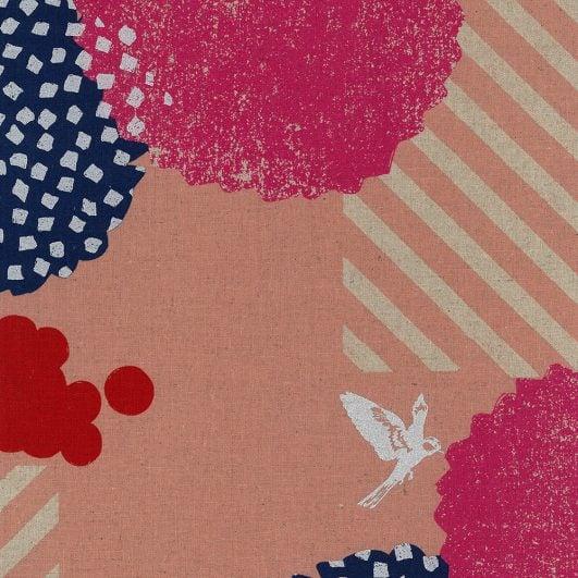 Loneta de lino y algodón con estampado geométrico en rosa