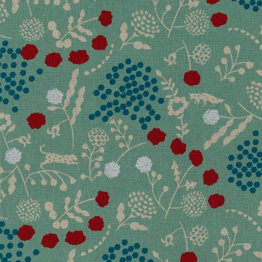 Loneta de lino y algodón con estampado de flores y leopardos en rosa