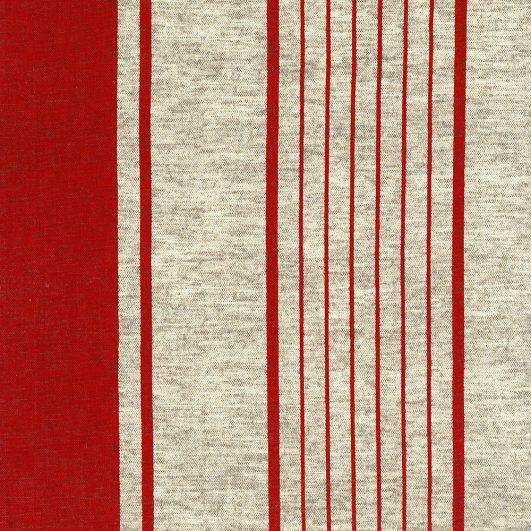 Loneta de estampado de rayas rojas de Echino para Kokka