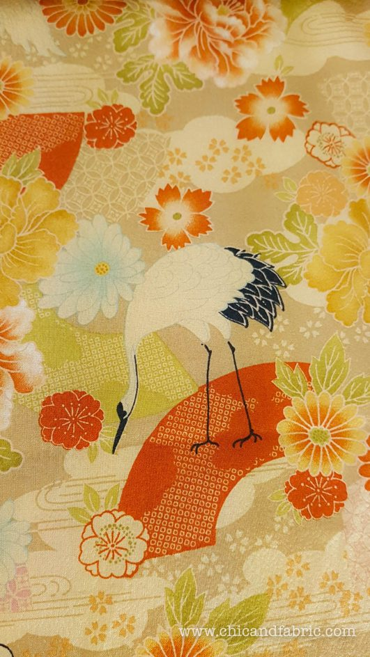 Tela de grullas y flores crêpe de estampado japonés