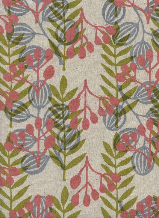 Loneta de hojas en verde rosa y azul sobre lino y algodón