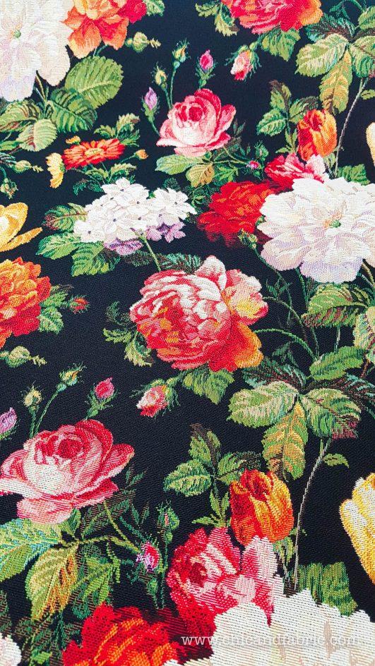 jacquard de flores para confección de abrigos o decoración