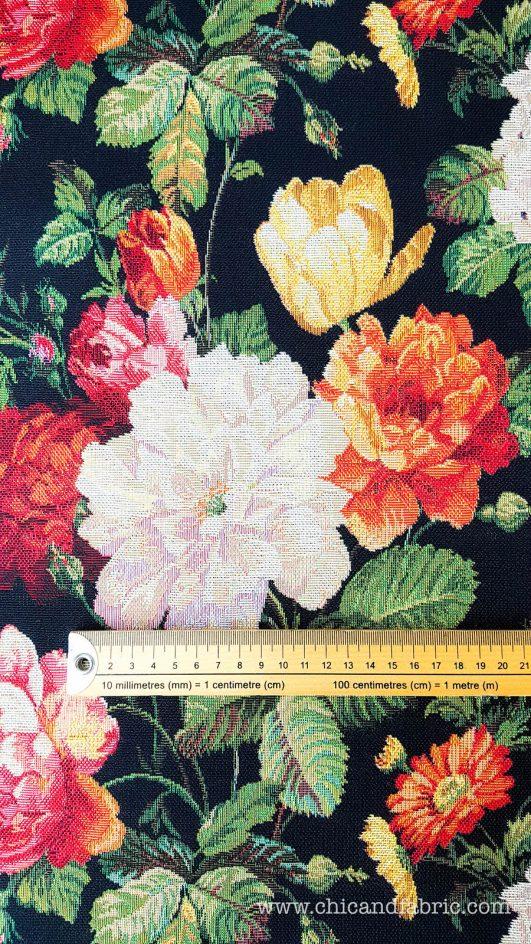 jacquard estampado de rosas y otras flores para confección de abrigos o decoración