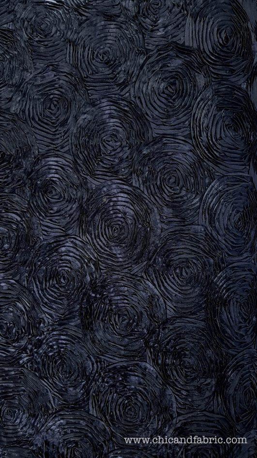 Gasa bordada con flores en negro